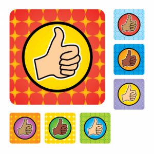 Square Thumbs Up Stickers