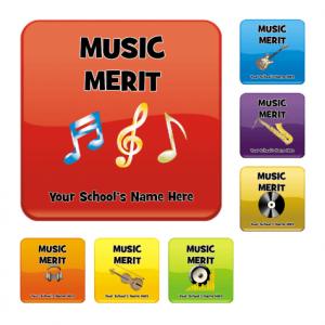 Square Music Merit Stickers