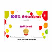 Attendance Balloon Certificate
