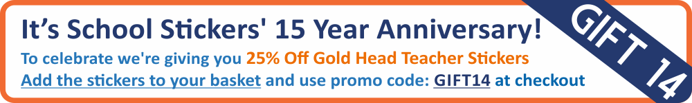 25% off Gold Headteacher Stickers - Today Only